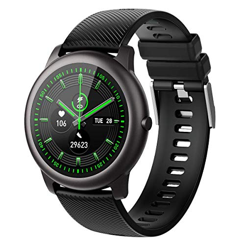 ELEGIANT Smart Watch, Fitness Tracker with Heart Rate Monitor,IP68 Waterproof Pedometer Exclusive 4 Dials+1Custom Dial, Smartwatch with Sleep Monitor for Men,340mAh,Gray