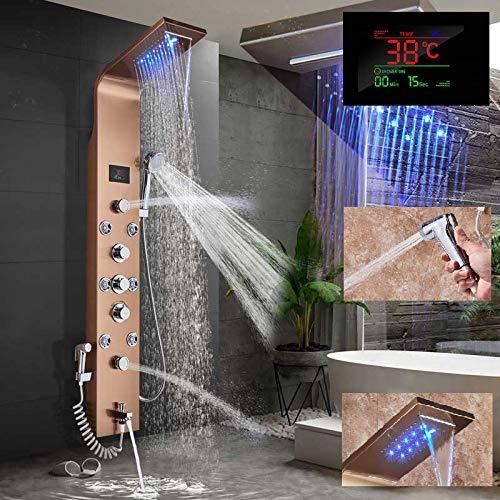 LED Duschpaneel elegant aus rostfreiem Edelstahl mit Bidet Funktion, Wanneneinlauf, Temperaturanzeige und 8 Massagedüsen Farbe: Golden