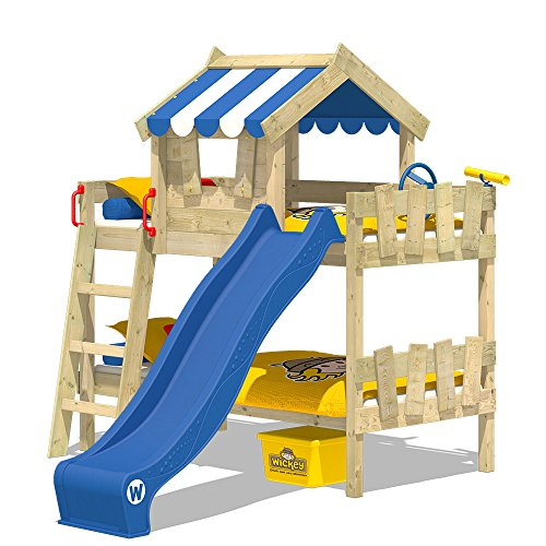 WICKEY Etagenbett CrAzY Circus Kinderbett Hochbett mit Rutsche, Dach und Lattenboden, blaue Plane + blaue Rutsche, 90x200 cm