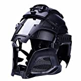 YASHALY Paintball Mask, Tactical Military Ballistic Helmet Side Rail NVG Shroud Transfer Base Outdoor Sports Army Combat Airsoft Protective Gear (Black)