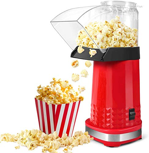 Popcorn Machine, 1200W Popcorn Maker, BPA-Free, Low Fat, No Oil Need Hot Air Popper Popcorn Maker, Fast Popcorn Popper with Top Lid for Home, Family and Party