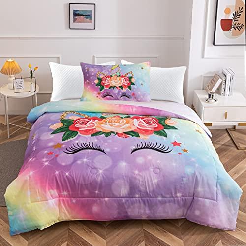 "HTgroce Girls Kids Rainbow Dream Unicorn Comforter Set, Microfiber Comfortable, Soft and Washable Bedding Sets Twin Size(68""x86"") 1 Quilt+1 Pillow Shams"