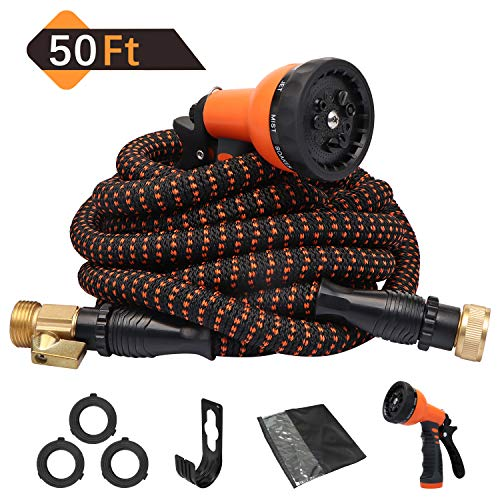 Expandable Garden Hose 50ft Flexible Water Hose Retractable, Upgraded 9 Functions Sprayer with Double Latex Core, 3/4' Solid Brass Fittings, Extra Strength Fabric - Outdoor Garden Expanding Hose