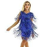 inhzoy Vestido de Baile Latino Lentejuelas para Mujer Vestido de Rumba Tango Salsa Samba Flecos Traje de Baile de Salón Disfraz de Fiesta Dancewear Azul M