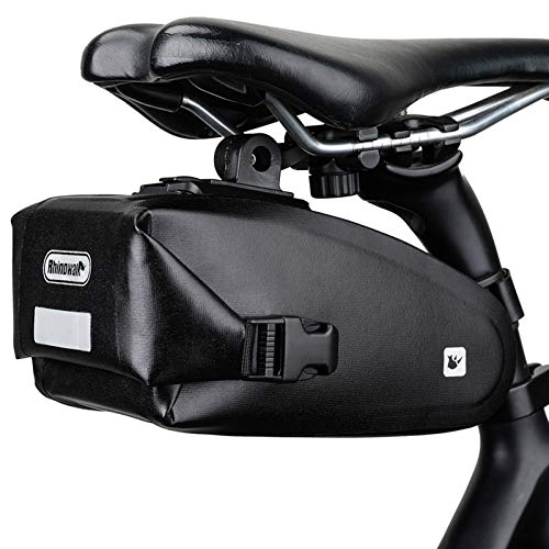 Rhinowalk Bolsas de Sillín Impermeable Bicicleta Alforja Asiento Trasero Carrier Alforjas de Ciclismo (Negro)
