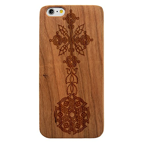 Laser Engraved Wood Case for Apple iPhone Samsung Galaxy Spiritual Floral Celtic Tribal Cross Circle for iPhone 7 Plus Cherry Case