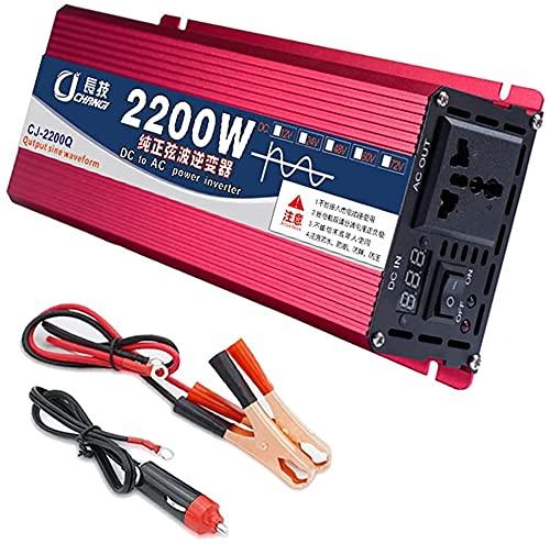 PGKCCNT 1 2V / 24V A 11 0V / 220V Inversor para el coche 220 0W / 1600W Inversor de onda sinusoidal pura, inversor de energía para camión, con pantalla LCD para TV, teléfono móvil, refrigerador de aut