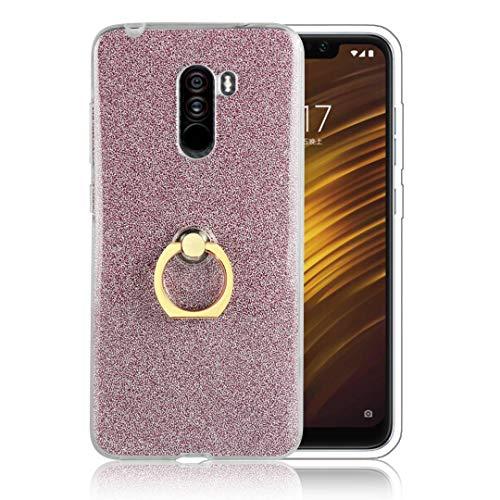 tinyue® Funda para Xiaomi Mi A1, Glitter Funda de Silicona TPU Suave Ultrafina Cubierta de protección Golpes con Anillo de Metal Hebilla de Concha, Rosa