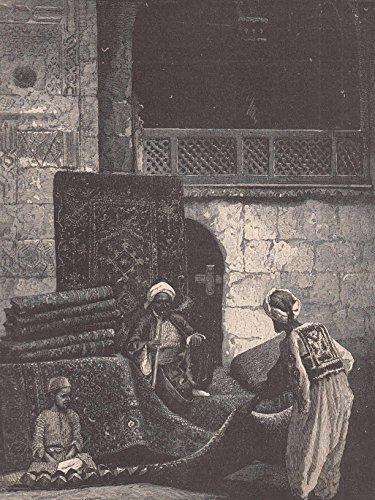 Islam/Islamische Welt - Teppichbasar in Kairo. Der Händler bietet einem Kunder der Wasserpfeife raucht die Teppiche an. [Grafik]