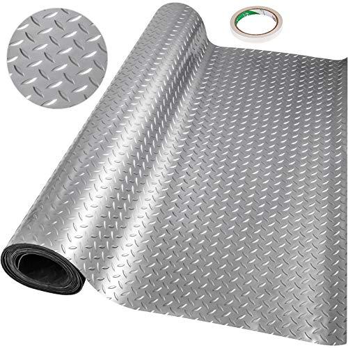 Happybuy Garage Floor Mat 10 x 3.6 Ft Garage Flooring 2.5mm Thickness Silver Garage Mat PVC Garage Floor Mats for Under Cars