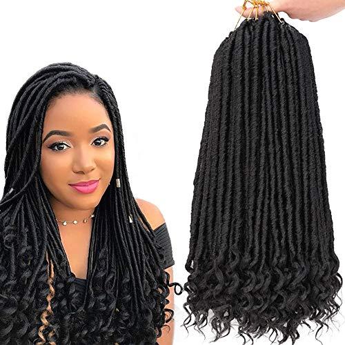 GX Beauty Goddess Locs Crochet Hair 20Inch Faux Locs with Curly Ends 6Pcs/Lot Straight Jumbo Goddess Locs Braiding Hair Extensions(1B#)