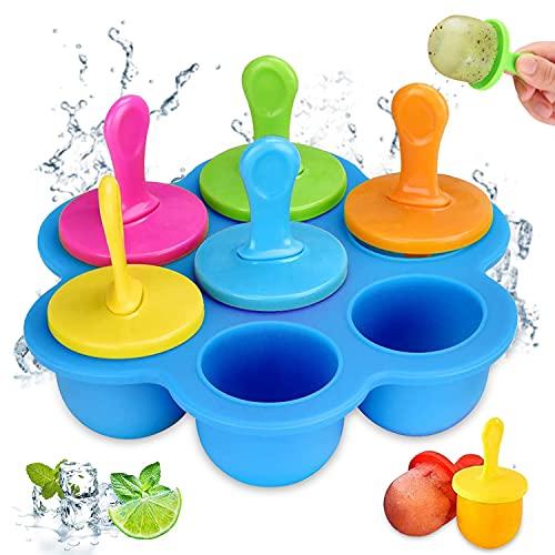 WELLXUNK® Moldes para Helados 7 Cavidades Moldes Helados Silicona Moldes para Polos Mini Popsicle Mold para Alimentos para Bebés, Hielo, Chocolate, Paletas de Hielo, Helado (Azul)