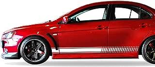 Bubbles Designs Set of Sport Side Stripes Decal Sticker Vinyl Compatible with Mitsubishi Lancer Evolution 10 X 2007 2010 2011 2015