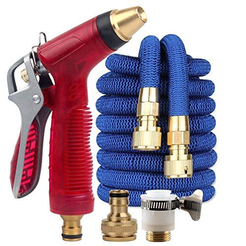 Weastion Combinaison de ménages de ménage à haute pression d'eau de lavage de voiture de pistolet à eau flexible télescopique d'arrosage portatif outil pistolet rouge joint métallique + tube télescopi