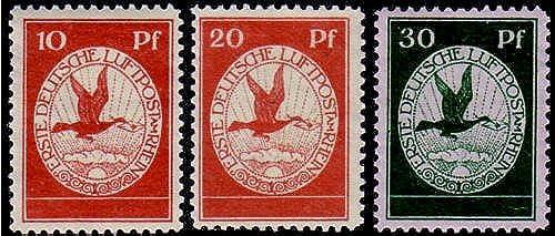 Goldhahn Deutsches Reich Nr. I-III postfrisch Flugpost 1912  - Briefmarken für Sammler