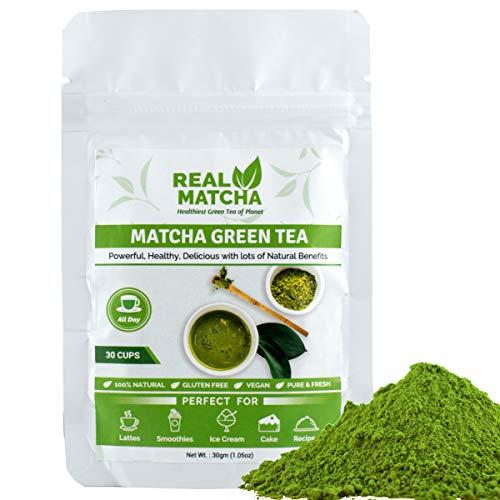 Real Matcha Japanese Matcha Green Tea Powder for Weight Loss 30gm (30 Cups)