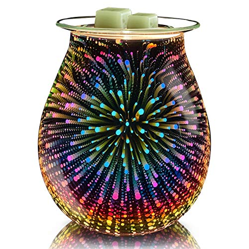 Leyoue 3D Glass Fireworks Electric Wax Melt Warmer Wax Burner Melter Fragrance Warmer for Home Office Bedroom Living Room Gifts & Decor