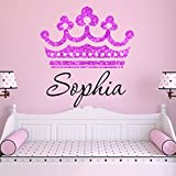 Girls Princess Tiara Pink Glitter Crown Personalized Custom Name Nursery Wall Decal, Size Medium Girls Room Wall Decals, Princess Wall Decals, Nursery Decals, Plus Free Hello Door Decal