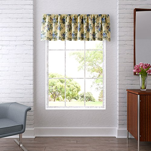 Laura Ashley | Linley Collection | Stylish Premium Hotel Quality Valance Curtain, Chic Decorative Window Treatment for Home Décor, Pale Yellow