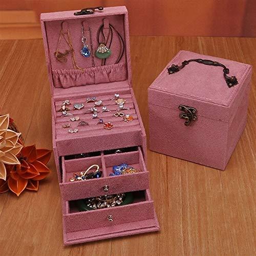yuyouzhong Vintage Jewlery Box European-Style Kleine mehrschichtige Plaid Armband Ohrstecker Prinzessin Einfache Schmucklagerung Kosmetiktasche (Color : Pink)