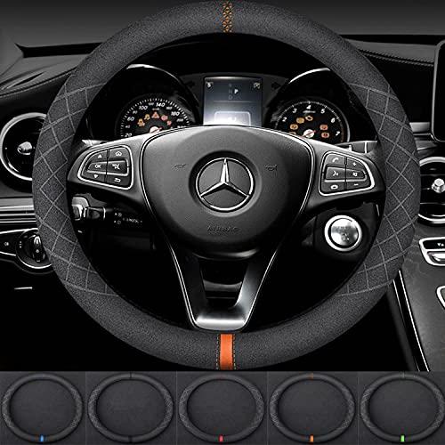 Cubierta del volante del automóvil Cuero de gamuza Transpirable Suave antideslizante Protector del volante Accesorios interiores, sin olor, tamaño universal 13.8-15.8 pulgadas