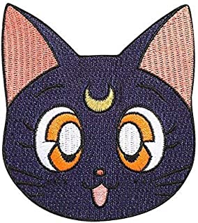 Sailor Moon Patch (3.5 Inch) Black Luna Cat Embroidered Iron / Sew on Badge Applique