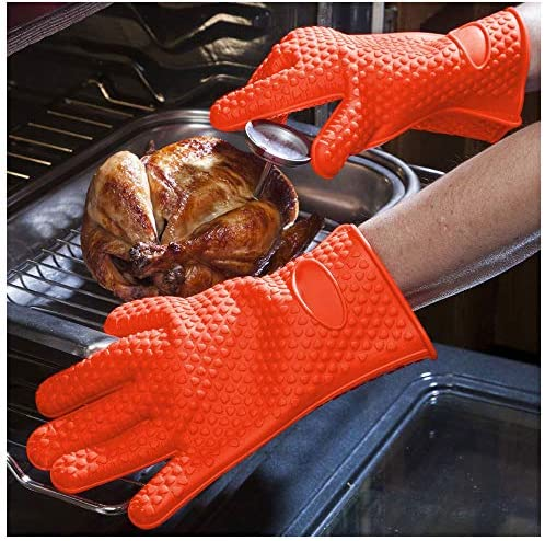 Heat Resistant Silicone Oven Mitts Five Fingers BBQ Kitchen Fireproof Gloves Cooking Baking product image