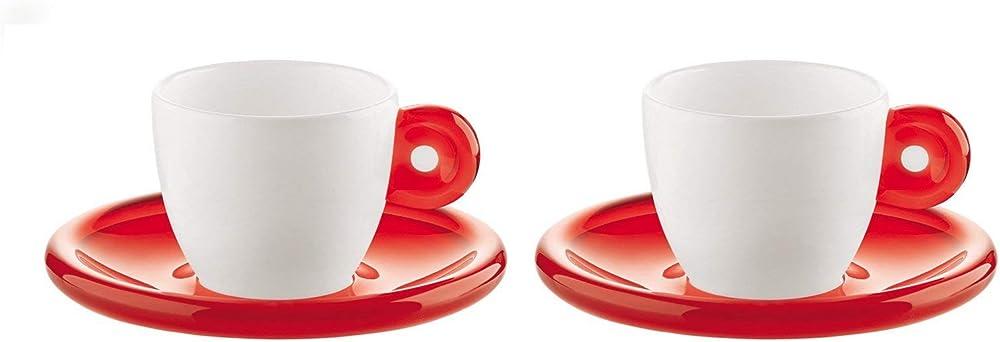 Fratelli guzzini, set da 2 tazzine per caffe` con piattino, in porcellana 26690065