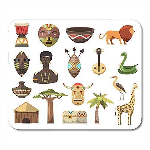 Bureau pad, Afrikaanse beelden giraffe masker heren slangenvaas leeuw house precisie mode bureauonderlegger voor kantoor computer decoratie 18 x 22 cm