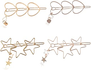 Aegenacess Hair Clips for Women Girls Styling Cute Metal Pins Vintage Rose Gold and Gold Decorative Accessories Jewelry Heart Star Shape (4Pcs - Clips)