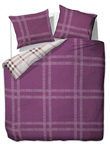 Cama con 1funda de almohada de 80x 80/2Fundas de almohada 80x 80fundas de cama edredón Juego de cama de algodón 100% orgánico) cuadros 60grados lavable Diamond Violet Dream Morado Beige, algodón, morado, 200  x200