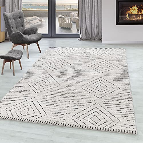 SIMPEX Alfombra de Sala FES Alfombra de Pelo Corto Estilo bereber diseño, Color:Crema, tamaño:140x200 cm
