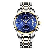 NIBOSI Chronograph Men's Watch (Blue Dial Gold & Silver Colored Strap)