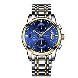 NIBOSI Herren Uhr Chronograph Quartz mit Edelstahl Armband