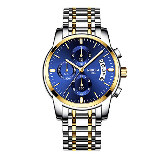Chronograph Blue Dial Gold and Silver Coloured Strap Men's Watch