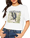 Qhghdgysd Sevendust Home Crop Top T-Shirt Women Dew Navel Sexy Short Sleeve Shirt Slub Cotton,Personality,M