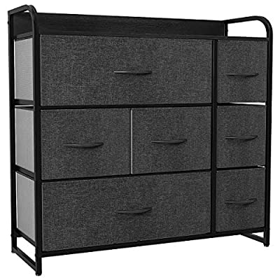 YITAHOME Fabric Dresser with 7 Drawers - Storage Tower with Large Capacity, Organizer Unit for Bedroom, Living Room & Closets - Sturdy Steel Frame, Easy Pull Fabric Bins & Wooden Top (Black/ Grey)