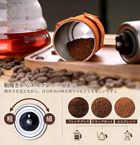 SULIVES 手挽き コーヒーミル コーヒー ステンレス製 珈琲 小型 アウトドア 30G イエロー