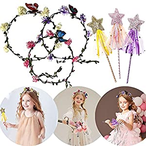 jevenis 6 pcs fairy birthday party supplies fairy party costume fairy birthday party favors floral headband for kids fairy costume for girl