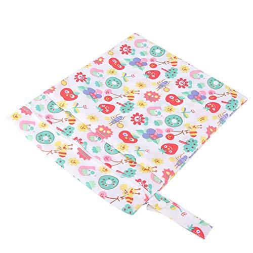 Babyluiertasje, waterdichte papieren luierzakje, draagbaar dubbellaags babyopbergtas voor kinderwagens in de open lucht. wit en fruit.