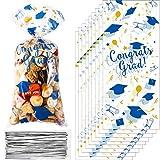 100 Bolsas de Regalo de Celofán de Graduación, Bolsa de Regalo de Dulce de Felicidades Graduados Azul Oro Bolsa de Embalaje de Goodie Plástico Transparente con 100 Lazos de Torcedura Plata