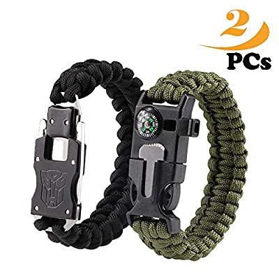 Survival Bracelets,Paracord bracelet, Self-defense stainless steel knife, Emergency Outdoor Paracord Survival Bracelet with Multi Tool - Embedded Compass, Fire Starter, Emergency Knife, Whistle, Rescu from BASON