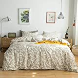 YuHeGuoJi 3 Pieces Duvet Cover Set 100% Cotton King Size Khaki Paisley Bedding Set Boho Floral Print Duvet Cover with Zipper Ties 2 Pillowcases Hotel Quality Soft Breathable Comfortable Durable
