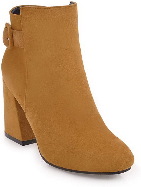 BalaMasa Womens Kitten-Heel Zipper Solid Square Heels Yellow Suede Boots ABL09737 - 5.5 B(M) US