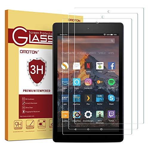 OMOTON [3 Pack] All-New Fire HD 10 Screen Protector, 2017/2019 Released, Tempered Glass with[No Bubbles] [HD Clear] [9H Hardness] [Easy Installation] [2.5D Round Edge] [Anti-Scratch]