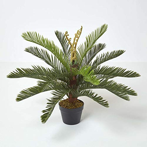 HOMESCAPES Sago Palm Tree Artificial Cycas Plant Home Office Indoor Decorative Plant Green 75 cm (2.5 ft) with Black Pot