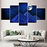 WKXZZS Cuadros Decoracion Dormitorios 5 Piezas 150x80cm - Cuadro sobre Lienzo - Impresión En Lienzo Montado sobre Marco De Madera - Escena Nocturna de la pirámide de Egipto