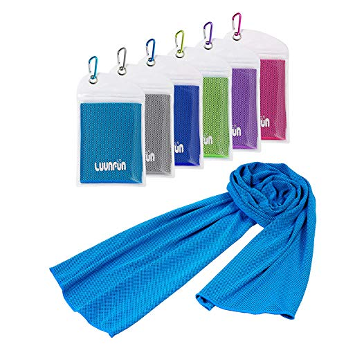 LUVNFUN 6 Pack Cooling Towels for Neck (40x12Inch) Cool Neck Warps for Summer Heat -Cold Chilly Cloth for Instant Relief- Ice Towel Ideal for Sports,Running,Gym Workout,Fitness,Yoga -UPF 50