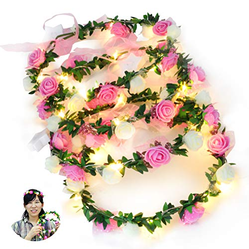 Novelty Place Paquete de 4 Diademas Luminosas de Flores para el Cabello- LED Floral Corona Diadema para Bodas, Festivales y Fiestas - 4 Unidades