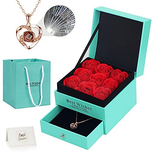 Ozrpn Juego de Rosas Eternas,Regalo Original para Damas,Caja de joyería de Rosa eterna con Collar de te Amo,Regalo de cumpleaños, Día de San Valentín,Día de la Madre,Aniversario,Navidad (Verde)